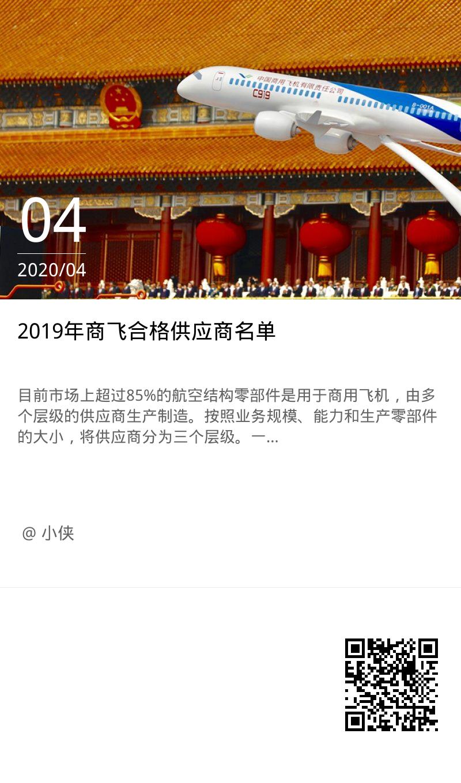 2019年商飞合格供应商名单